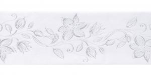 Jacquard satin ribbon, Art.64968, color No.White
