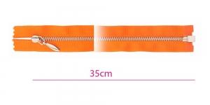 1091NI, Alt avatav 4mm hammastikuga metall-tõmblukk pikkusega 35cm, oranž, nikeldatud hammastikuga