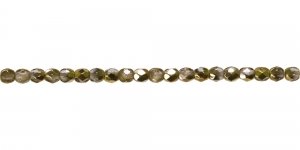 LA63 Ümar tahuline klaaspärl, Tšehhi, 3mm, Värvitu 1/2 kuldse kattega läbipaistev