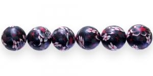 CE1 14mm Punamustakirju lilleline polümeersavist ümar helmes