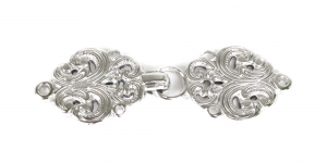 SHA13, Scandinavian Pewter Clasps, pair size: 63mm x 20mm, silver