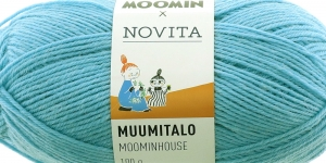 Villasisaldusega sokilõng Muumitalo, Novita, värv 152, Tuskliku helesinine
