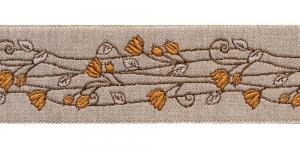 Pool-linane lillemustriga pael Art.815PG laiusega 50mm oranžide õitega, Värv 4