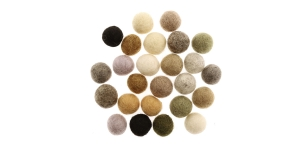 Handmade Felt Ball 25 pcs set, ø15 mm - 17 mm, Nepal wool, Habico, HF118_NATURAL