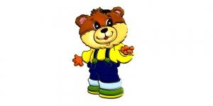 BA67, Traksipükstega mõmmi, Teddy Bear with Overalls, 8 x 6 cm