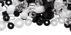 Must-valge-värvitu pärlisegu, 5-8mm, LL45