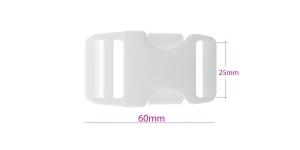 Plastikust pistlukk 60 mm x 32 mm, rihmale laiusega 25 mm, valge, UG27
