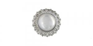 Hõbedase servaga, valge kristalliga, kannaga metallnööp, 15mm; 24L; SFF195/10082015-15-S01