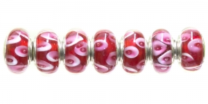 KL51 14x7mm Punase, roosakirju pandora tüüpi helmes
