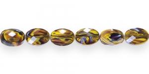KM10 14x10x7mm Pruuni- kollase-helesinise kirju tahuline klaaskristall