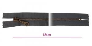 1952OX, Closed end Metal Zippers, zip fasteners, 18cm, color: dark grey, member width: 6mm antique brass