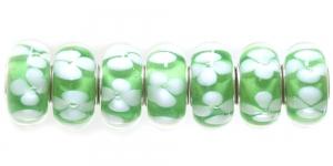 KL56 14x7mm Roheline, valgete lilledega pandora tüüpi helmes