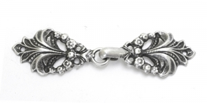 GG258AA, Scandinavian Pewter Clasps, pair size: 65mm x 18mm, silver antique