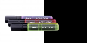 Akrüülvärviga viltpliiats, katva värviga, 15mm, 25ml, Darwi Acryl Opaque, BLACK 100
