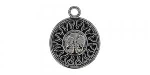 25mm Kõrgläikega oksüdeeritud nikkel, ümar aasaga medaljon, EG242