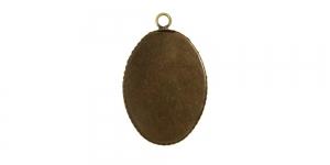 Antiikpronks medaljonikujuline riputis, Antique Bronze Oval Pendant Base, 26 x 19mm, EG69