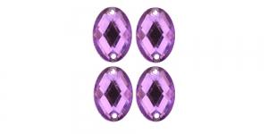 WF16 18x13mm Helelilla, tahuline ovaalne akrüülkristall, 4tk