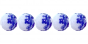 KM150 9mm Valge, ümar klaashelmes, sinise maalinguga