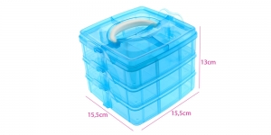 Stackable storage box es, 3 levels, 15,5 x 15,5 x 13 cm, bright blue, KL1425