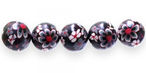 CE21 18mm Punamustakirju lilleline polümeersavist ümar helmes