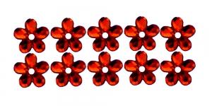 9mm Punased, lillekujulised õmmeldavad dekoratiivkivid WM16