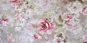 Õrn, läbipaistev kardinakangas, valge. roosade roosidega, 280cm, 05001-01