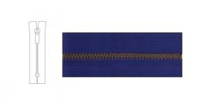 7342NI, 6mm hammastikuga metall-tõmblukk pikkusega 21cm-22cm, sinine, antiikpronks hammastikuga