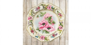 Kits w/pre-printed background 0075 PT Plate with Pink Poppies. Satin Stitch