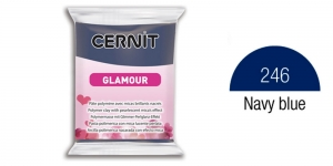Polymer clay, CERNIT GLAMOUR, Pearlescent and metallic colours, 56g, Navy blue 246