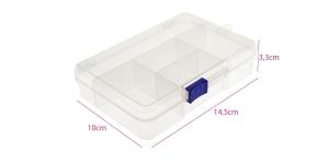 Plastmassist (PP) läbikumav säilituskarp, 5 lahtrit, lukustatav, 14,5 x 10 x 3,3 cm, KL1729