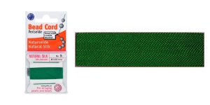 100% Silk Beading Thread, #5; ø0,65 mm, 2 m, color: green, Beadalon JH05S-GREEN-C