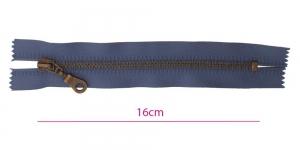 Metall-tõmblukk pikkusega 16cm, 6mm antiikpronks hammastikuga, tumedam sinine