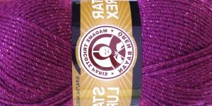 Metallikniidiga akrüüllõng Star Lurex, Madame Tricote, värv nr. 052M, roosakaslilla samatoonilise metallikniidiga