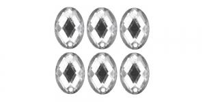 WF28 18x13mm Värvitu, tahuline ovaalne akrüülkristall, 6tk