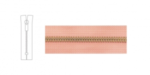 Metal Zipper, zip fastener, 13cm-14cm, pink, member width: 6mm, Brass plated