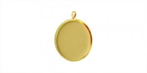 Kuldne medaljonikujuline riputis, Golden Circular Pendant Base, 21 x 2mm, EG32