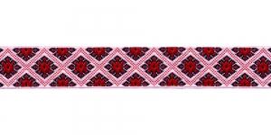 Korduva rombimustriga kaunistuspael 25mm, Art.25985FC, värv puna-valge