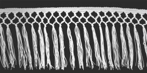 Sõlmelise servaga narmad pikkusega 15 cm, värv valge, 1