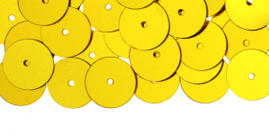 YB96b / Lamedad kettakujulised plastlitrid / Sädelev kuldkollane / ø10mm