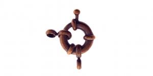 Karabiinhaak Antiikpronksjas / Jewellery Clasp with Spacer / 11 x 11 x 2,5mm / EE37