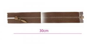 1881OX, Alt avatav 4mm hammastikuga metall-tõmblukk pikkusega 30cm, tumepruun, antiikpronks hammastikuga (Opti)