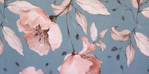Suurte roosakate lilledega, helesinine trikotaaž, 160cm, D7473A