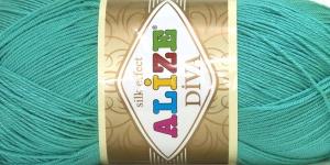 Siidja pinnaga akrüüllõng Diva Silk Effect; Värv 610 (Mindiroheline), Alize