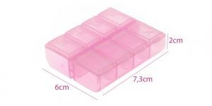 Väike plastmassist (PP) läbikumav säilituskarp, 7,5 x 6 x 2 cm, KL1726