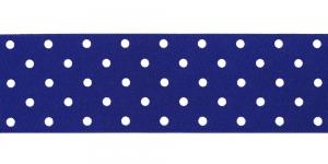 Valge täpimustriga ripspael laiusega 48mm, Art.P1410, värv 120 sinine