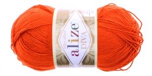 Siidja pinnaga akrüüllõng Diva Silk Effect, oranž