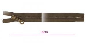 1771OX, Metall-tõmblukk pikkusega 16cm, 6mm antiikpronks hammastikuga, oliivroheline, (Coats, Opti)