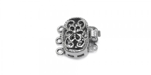 Hematite Oval Box Clasp with Floral Pattern / 14 x 10mm / EJ50