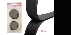 Hook and Loop tape, 20 mm, 1,25 m, black #08