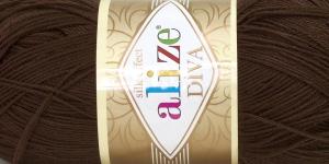 Siidja pinnaga akrüüllõng Diva Silk Effect; Värv 26 (Tumepruun), Alize